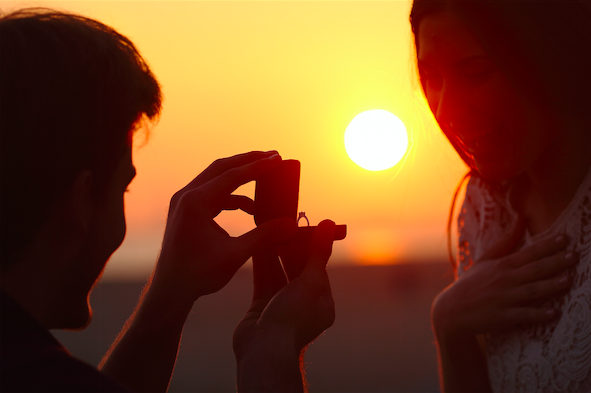 Marriage propose under sunset