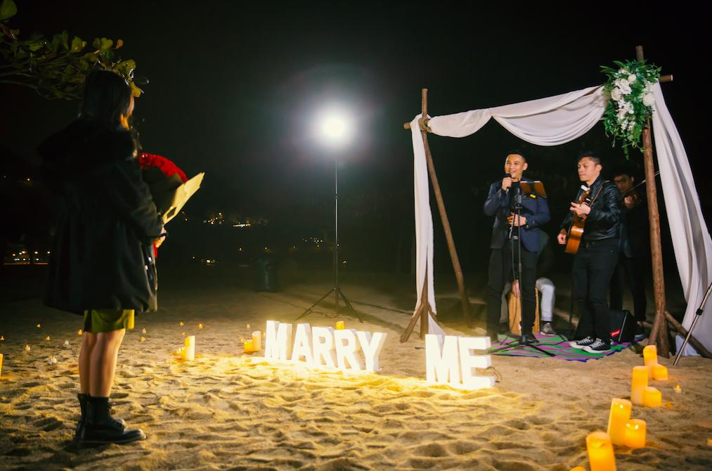 香港沙灘感動求婚