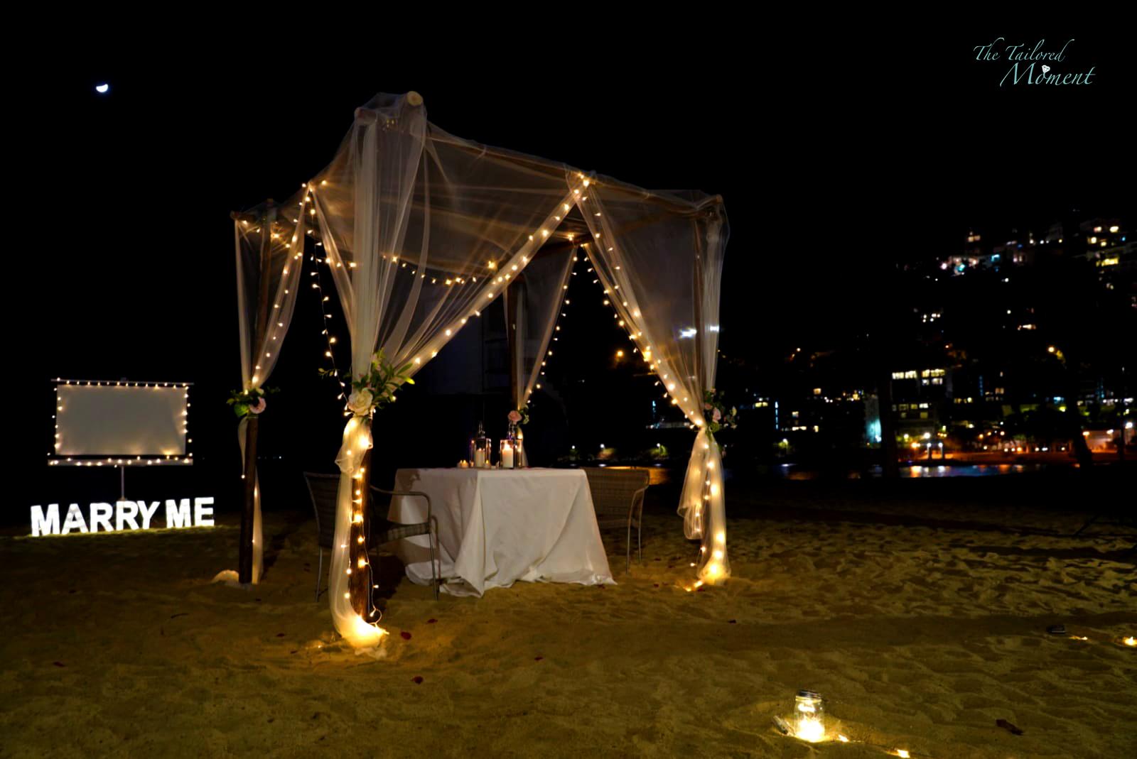 香港沙灘小屋拱門浪漫求婚佈置